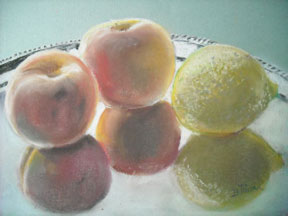 "Sweet and Sour on a Silver Plate,9""x12"",pastel"