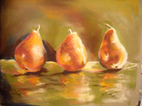 Three-golden-Pears---pastel-