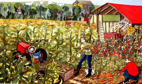 Alfoldy_Lady-With-her-Garden-Harvest-watercolour-20 x 12FOR-SALE