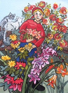 Alfoldy_Lady-with-her-Flowers-watercolour-7-in-h-x-5-in-w-,-framed-9 x 11