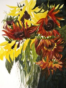 Alfoldy_Sunflowers-in-Glass-Vase-watercolour-19 x 18 FOR-SALE