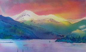 Kootenay-Lake-Watercolour-by-Sandra-Irvine