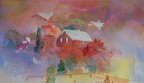 Nelson-Hillside-in-Fall,-Watercolour-by-Sandra-Irvine