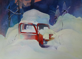 Old-Red-Truck,-Watercolour-by-Sandra-Irvine