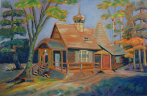 Preville-Tea,-Chapel-House,-Zuckerbeg-Island,-24-x-36,-oil,-linen-canvas-Churches,-Temples-&-Tipis-Body-of-Work