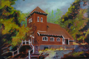 Preville-Tea,-Harrison-Memorial,-24-x-36,-oil,-linen-canvas---Churches,-Temples-&-Tipis-Body-of-Work