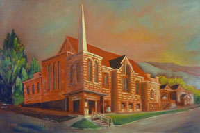 Preville-Tea,-Nelson-United-Church,-24-x-36,-oil,-linen-canvas-Churches,-Temples-&-Tipis-Body-of-Work
