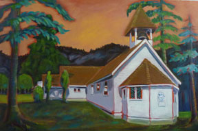 Preville-Tea,-Robson-Church,-24-x-36,-oil,-linen-canvas-Churches,-Temples-&-Tipis-Body-of-Work