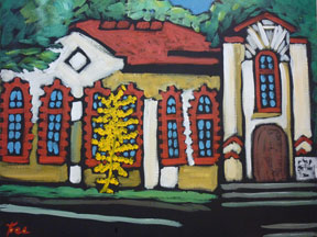 Preville-Tea,-Scandinavian-Church,-16x20-Acrylic-on-Canvas---Private-Collection