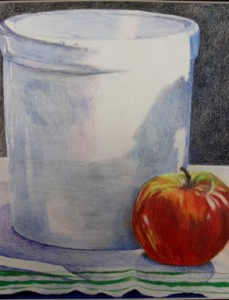 Wilma-Brooks-Hughes,-Crock-on-Linen-with-Apple,-10.0x8.0,-coloured-pencil-on-paper,-$250