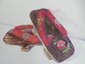 Wilma-Brooks-Hughes,-Japanese-slippers-from-childhood,-7.5x10.25,coloured-pencil-and-gold,silver-leaf-on-paper,-$250